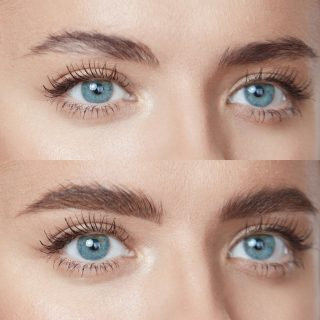 Beauty. Close Up Woman's Eyebrows Before And After Microblading. Difference Between Female Brows With Lamination And Without Correction.